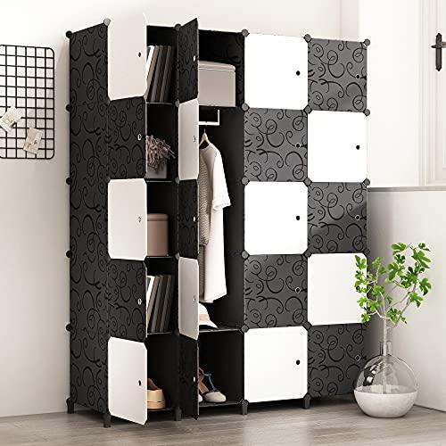 PREMAG Armario portátil para Colgar la Ropa, ropero Combinado, Armario Modular para Ahorrar Espacio, Ideal Organizador de Almacenamiento Cubo para Libros, Juguetes, Toallas (20-Cube)