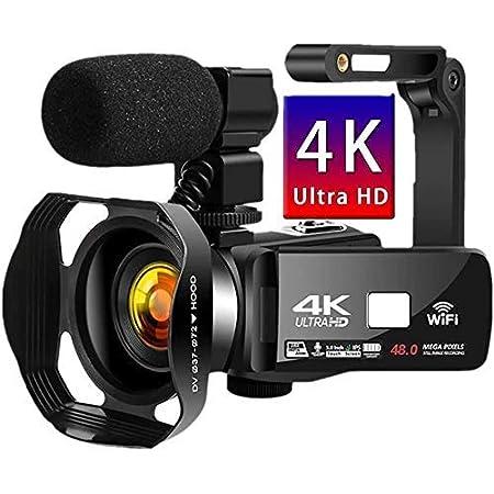 ビデオカメラ 4K デジタルビデオカメラ YouTubeカメラUDR 48MP WIFI機能 18倍デジタルズーム IR夜視機能 予備バッテリーあり 3.0インチタッチモニター 外部マイク ハンドルグリップ 手持ちスタビライザー 日本語取扱説明書 (4800万画素)