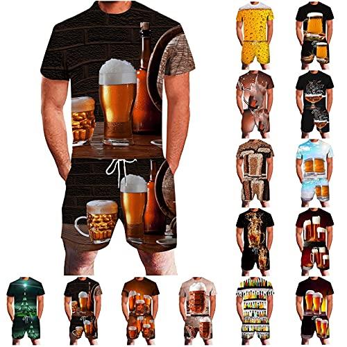 Conjunto de chándal de 2 piezas para hombre, de gran tamaño, con camiseta y pantalones deportivos en 3D, con gráficos impresos en la cerveza A11 115 cm