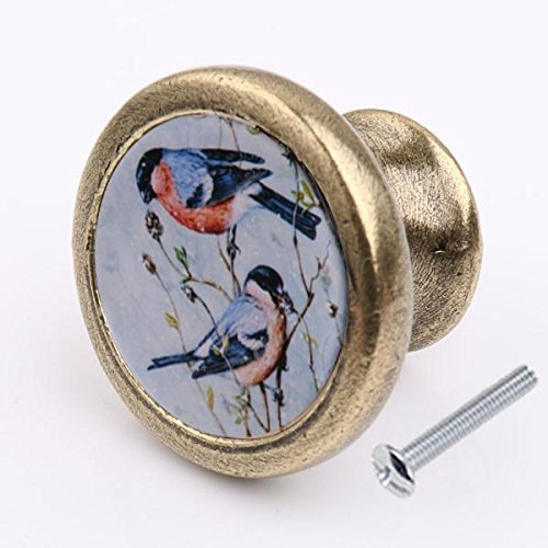 MagiDeal Vintage Rund Möbelgriffe Möbelknauf Knopf für Tür Schrank Schublade Griff, Vogel Druck - Vogel 1
