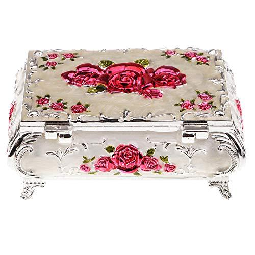 Desconocido Joyero Organizador de Regalo, 1 Caja de Metal Vintage para Joyas, Anillos, Pendientes, Caja de Almacenamiento, Color Blanco, Color, Size