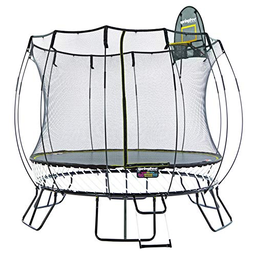 Springfree Trampoline - 10ft Medium Round Trampoline With Basketball Hoop and Ladder