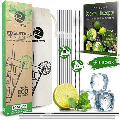RIGUTTO®️ DAS ORIGINAL - Premium Edelstahl Trinkhalme [14er Set] – Geprüfte Qualität 2020 | Für alle Getränke geeignet | inkl. Rezepte , Beutel & Reinigungsbürsten | Wiederverwendbare Strohhalme