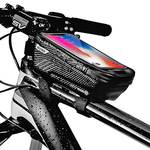 BAONUOR Fahrrad Rahmentasche Fahrrad Handytasche Lenkertasche Wasserdicht mit TPU Touchscreen Fahrradtasche Fahrrad Oberrohrtasche für iPhone 8 Plus/X/XS Max/XR/Samsung S8 Plus/S9 Handy - 6