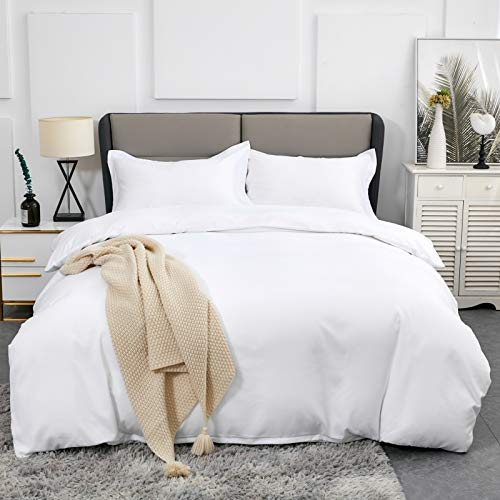 Duvet Covers Queen Size - Ultra Soft and Breathable Bedding Comforter Cover Set Washed Microfiber 3 Pieces with Zipper Closure Duvet Cover and 2 Pillow Shams (White)