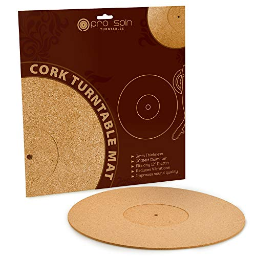 Cork Turntable Mat by Pro-Spin for Vinyl LP Record Players (3mm) High-Fidelity Audiophile Acoustic Sound Support   Help Reduce Noise Due to Static and Dust