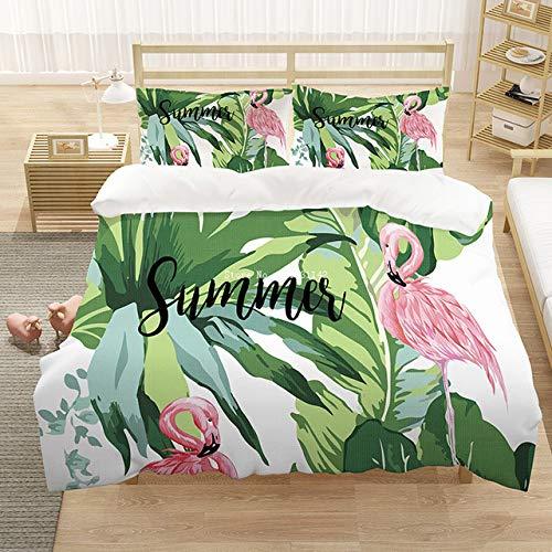 KHDFID Flamingo ropa de cama flores rosas, flamencos, pájaros, flores tropicales, suave y...