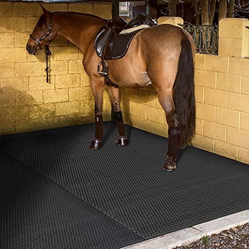 Stallmatte | komfortable und hygienische Gummimatte für Stall, Pferdebox, Paddock | Boxenmatte mit Drainage und Noppen | 122x183 cm