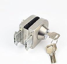 MLZWS Glazen deurslot, roestvrij staal, niet nodig om op glas te boren, slot binnen en buiten, enkele deur, frameloze glaz...