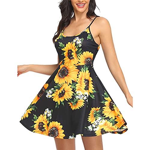 Vestido de verano para mujer, sin mangas, con estampado de flores, con correa para el hombro ajustable, vestido de playa, colorido, moderno, elegante, elegante, elegante, acampanado, amarillo, L