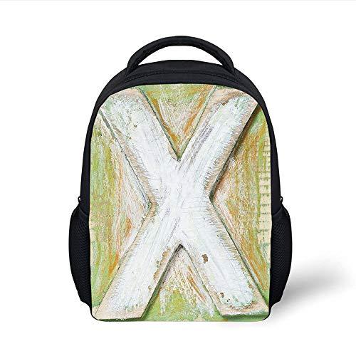 Kids School Backpack Letter X,Vintage Effect Background Language Symbol Uppercase X Grunge Retro Design Decorative,Green Orange White Plain Bookbag Travel Daypack