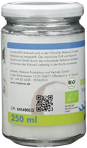 Manako Bio Kokosöl Kokosfett kaltgepresst GLAS, 1er Pack (1 x 250 ml) - 2
