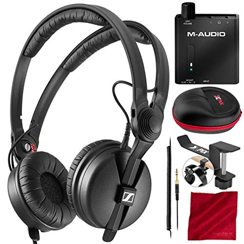 Sennheiser HD 25 PLUS Monitor Headphones + M-Audio Bass Traveler Portable 2-Channel Headphone Amplifier, Xpix Hard Shell Case, Xpix Hanger, and Fibertique Microfiber Cleaning Cloth