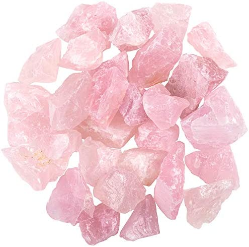 "Unihom 1 lb Bulk Rose Quartz Rough Stones - Large 1"" Natural Raw Stones Crystal for Tumbling, Cabbing, Fountain Rocks, Decoration,Polishing, Wire Wrapping, Wicca & Reiki Crystal Healing"