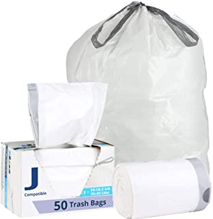 Plasticplace Custom Fit Trash Bags │ Simplehuman Code J Compatible (50 Count) │ Liter White Drawstring Garbage Liners 10-10.5 Gallon / 38-40 Liter │ 21