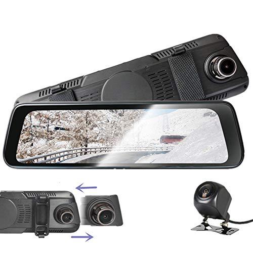 Dash Cam Full HD 10 Inch Touch Screen Streaming Media,1080P HD Dual-Lens gelijktijdige opname, met waterdichte achteruitrijcamera