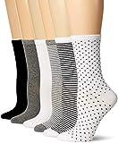 Amazon Essentials Women's 6-Pack Lightweight Casual Crew Sock, Black Assorted, 6 to 9