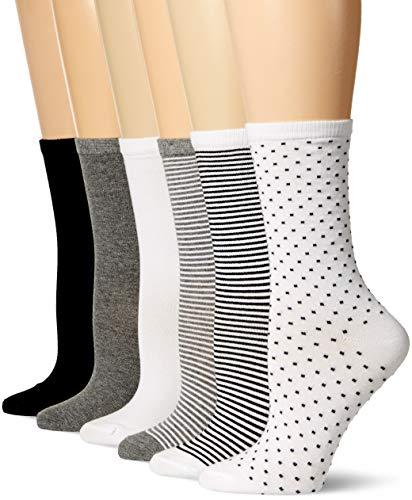 Amazon Essentials Women's 6-Pack Lightweight Casual Crew Sock, Black Assorted, 8 to 12