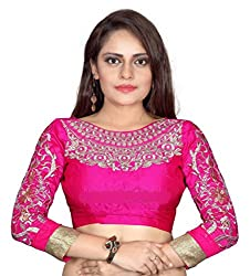 504aa3d877 Bollywood Designer Women's Embroidered Pink Blouse Material  (UNSTICHED)(BD_01)