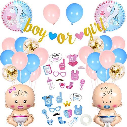 LQH Junge oder Mädchen Geschlecht Decken Party Supplies-Babyparty Photo Booth Requisiten, blau und rosa Luftballons, Baby-Folien-Ballone, Banner