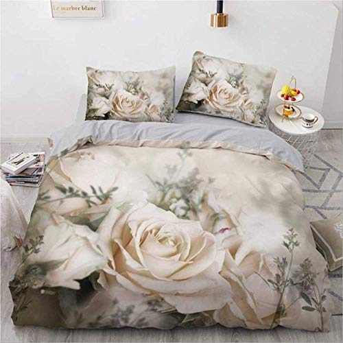 WGLG Double Bedding Duvet Set, 3D Printing Rose Floral Bedding Set Luxury Home Textiles Duvet Cover Set Pillowcase 2/3Pcs Wedding Bedding Bed Linen