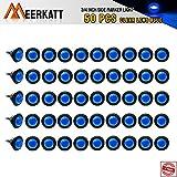 Meerkatt (Pack of 50) 3/4 Inch Mini Round Blue LED Flush Mount Side Marker Clearance Lamp ...