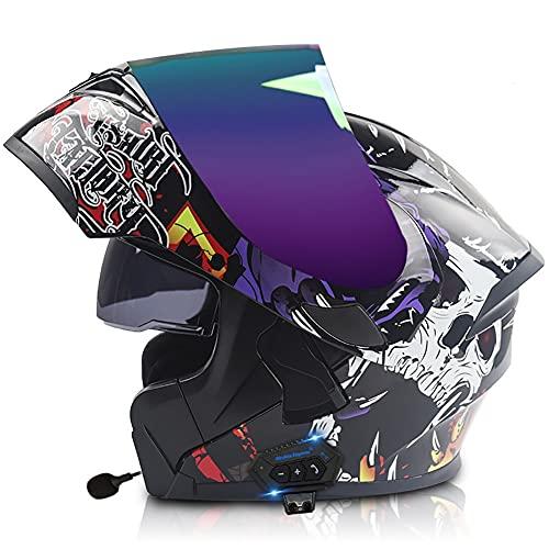 Letetexi Casco de Moto Modular con Bluetooth,Bluetooth Integrado Cascos de Motocicleta con Respuesta Automática ECE Homologado Robusto Doble Anti Niebla Visera para Hombres Mujeres 57-64CM