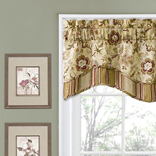 WAVERLY Navarra Floral Pattern Scalloped Window Valance Curtains, 52