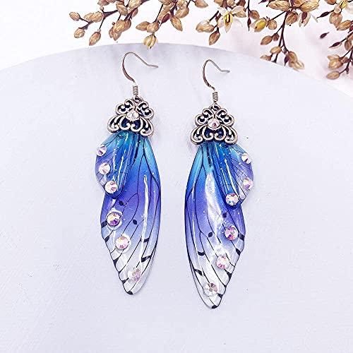 MENG Hada Hada Transparente Resina Simulación Alas Pendientes de Rhinestone Hoja Mariposa Pendientes Pendientes Romántico Boda Novia Joyería,Cp-Blue