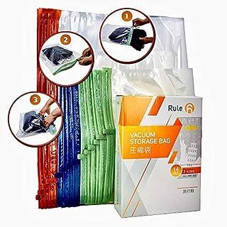 Rule 6 衣類圧縮袋 手巻き式 3サイズ14枚入り 旅行/引っ越し/出張 衣替え収納袋 掃除機不要 繰り返し使える 省スペース 防虫防カビ