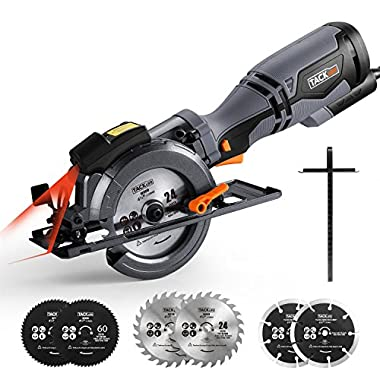 Compact Circular Saw 4-3/4 , 5.8A Tacklife Saw with Laser Guide, 6 Blades, 3500rpm, Max Cutting Depth 1-9/10'' (90°), 1-3/10'' (0°-45°), Single-Hand Operation Design -TCS115A