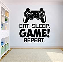 Hwhz 57 X 64 cm Video Game Controller Wall Sticker Eat Sleep Game Repeat Wall Decal Wall Art Boys Room Decor Gamer Vinyl W...