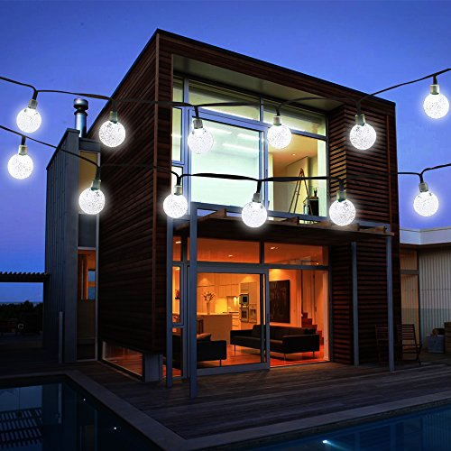 Vivii Solar String Light 20 ft 30 LED Crystal Ball Waterproof String Lights Solar Powered Fairy Lighting for Garden Home Landscape Holiday Decorations, White, 2 Pack