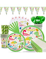 106 Pieces Dinosaur Party Supplies Pack Disposable Tableware Serves 12 Birthday Party Decoration Set Value Pack Napkins Plates Cups Utensils Table Cloth Banners Ramadan Eid