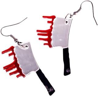 CutieJewelry Axe Halloween Knife Butcher Jewelry Bloody Blood Dangle Earrings
