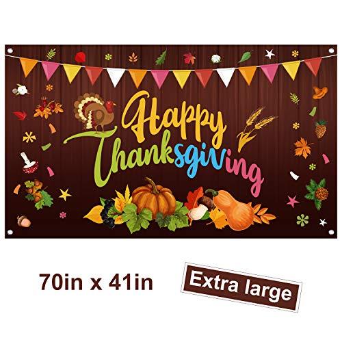 FEPITO Banner Extra Large Banner de Agradecimiento, Otoño Banner Thanksgiving Calabaza Hojas de Arce Banner para Acción de Gracias Decoraciones Fiesta de otoño Decoración Interior al Aire Libre