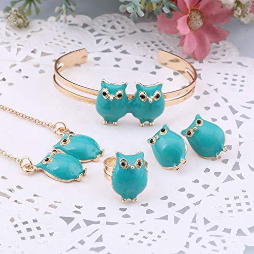 Cute Owl Bracelet Friendship Jewelry Set,Children Owl Pendant Necklace Earrings and Bracelet Set Gold Color Necklace Bracelet Ring Earrings Baby Kids Girls Animal Jewelry Set-Blue