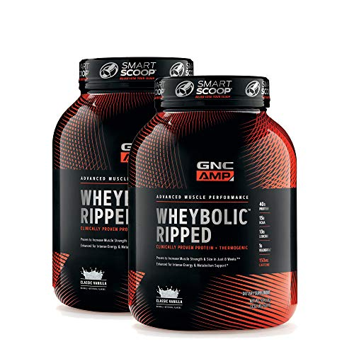 GNC AMP Wheybolic Ripped Whey Protein Powder - Classic Vanilla, Twin Pack, 22 Servings Each, 40...