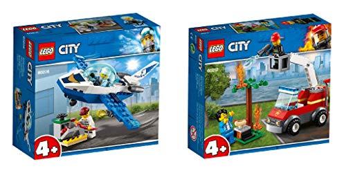 Steinchenwelt Lego® City 60206 - Juego de 2 patrulla de avión y bomberos para barbacoas