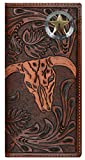 Custom 3D Belt Company Texas Ranger Lone Star Long Rodeo Checkbook Brown and Tan Cow Skull Wallet Long