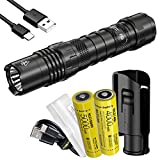 Nitecore P10i 1800 Lumen USB-C Rechargeable Tactical Flashlight, Strobe Ready with Two Batteries and LumenTac Battery Case