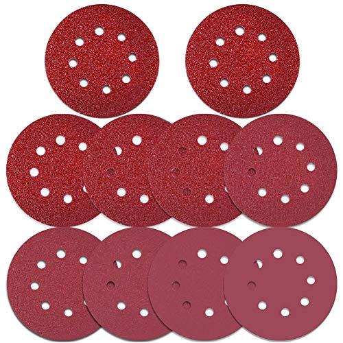 Selizo 100 Pcs 5 Inch 8 Holes Sanding Discs 40/60/ 80/100/ 120/180/ 240/320/ 400/800 Grit Hoop and Loop Sandpaper for Random Orbital Sander