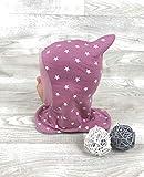 Schlupfmütze altrosa Sterne,Mütze und loop, Jersey Fleece Gr 40-56 kindermütze, halssocke, mütze baby Mädchen schalmütze