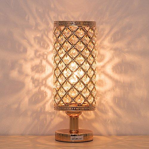 HAITRAL Tischlampe,Gold Kristall Nachttischlampen Modedesign Nachttischlampe mit Perlen Schatten Metall Basis DIY und zerlegt Licht Nachttischlampen für Schlafzimmer Wohnzimmer Kaffeekommode Tisch
