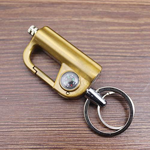 BOLLAER Kompass-Flint, Auto-Schlüsselanhänger, EDC Beste Geschenkideen und Grillen, Camping, Notfallausrüstung für Männer und Frauen, gelb