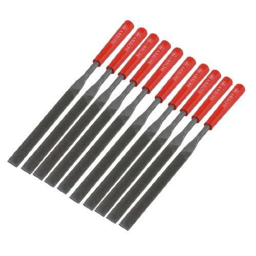 Aexit 10 Pcs Files & Rasps Jewelers 5mm Wide 180mm Long Flat Hand Files Set for Swiss Pattern Files Metal Stone