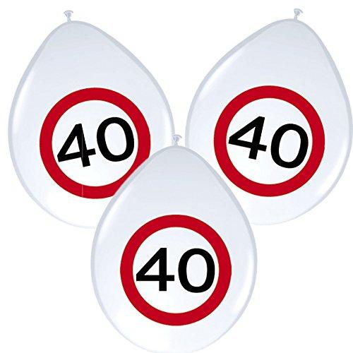 8 Ballons * anniversaire 40 ans * avec panneau de signalisation de design/Décoration/Kit de Balloons Ballon Decoration Jubilé Quarante Ans