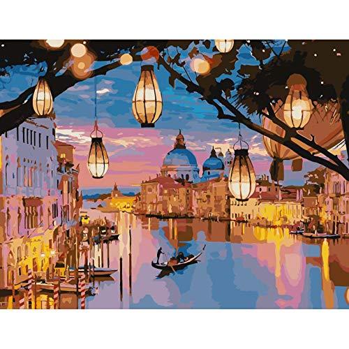 Malen nach Zahlen Erwachsene, Nacht Venedig Malen nach Zahlen Erwachsene Kinder Anfänger 40 x 50 cm Romantisches Stadtlicht DIY Ölgemälde ohne Rahmen