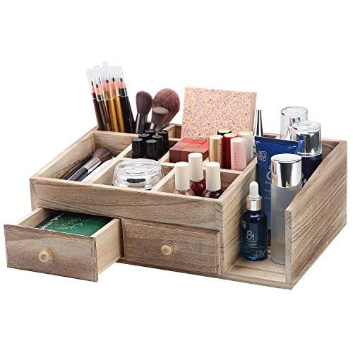 X-cosrack Rustic Wood Desk Cosmetic Office Drawer Jewelry Storage Organizer Box Countertop Stationery Coffee Supplies Makeup Case for Bathroom Vanities Dresser Table-Patent Pending