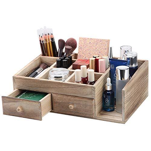 X-cosrack - Caja de almacenamiento de madera rústica para escritorio de oficina y cosméticos, para encimera, suministros de café, organizador de maquillaje para baño, tocador y tocador